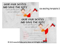 Ice Skating Birthday Party Invitation Party ideas Pinterest