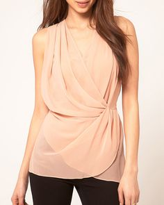 Alluring Plunging Neck Sleeveless Pleated Solid Color Chiffon Blouse For Women, PINK, S in Blouses | DressLily.com