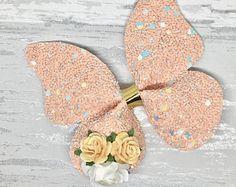 Beautiful peach iridescent butterfly hair clip, fringe hair bow