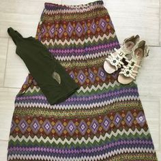 Lush Dresses & Skirts - Lush Aztec Print Maxi Skirt