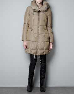 3/4 LENGTH CANVAS PUFFER COAT