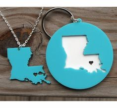 I {Heart} My State Acrylic Key Chain & Necklace Set