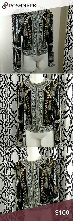 Sequins & beads overload vintage top All purchase comes with a gift  Great condition  Beautifully designed. 100% pure silk   Size 8 Rina Zi Tops