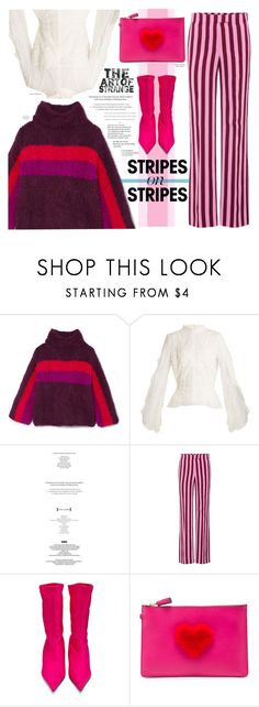 """""""Pink and Purple Stripes"""" by paperdollsq ❤ liked on Polyvore featuring Rosie Assoulin, Jonathan Simkhai, StyleNanda, AlexaChung, Balenciaga, Maison Margiela, By Terry and Anya Hindmarch"""