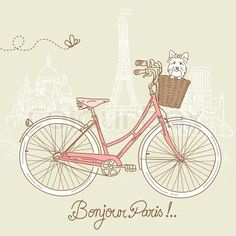 Vector of 'Riding a bike in style, Romantic postcard from Paris'
