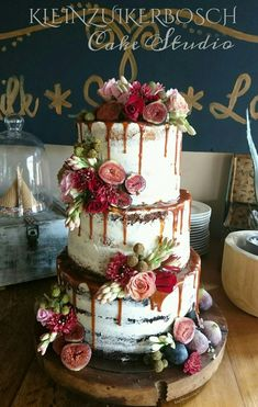 Marsala colours..pink, red. Semi Naked Wedding cake. Carina Sephton 0823005301 Dullstroom, Machadodorp, Lydenburg, Burgersfort #weddingcakes