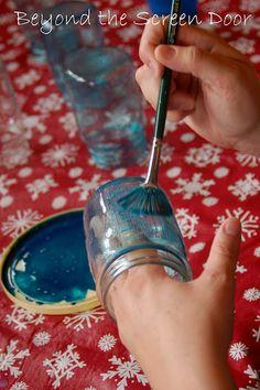 Make ordinary mason jars look like vintage blue ones.