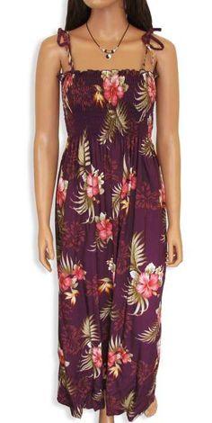 39bfa8a4d3 Long Tube Top Rayon Flower Smocked Dress Birds of Paradise