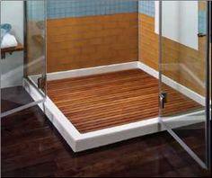 white acrylic shower base with teak shower tray. Shower Floor, Shower Base, Shower Trays, Bath Remodel, Kitchen Remodel, Reno, Bathroom Inspiration, Decoration, Interior Design Living Room
