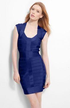 Blue Banded Cap Sleeve Mini Dress