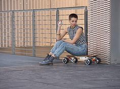 In fact, it is not an ordinary skateboard, but an innovative Airwheel motorized skateboard. The main reason why that boy doesn't need his own strength to skid the skateboard is because Airwheel motorized skateboard is powered by lithium-ion battery. Motorized Skateboard, Electric Skateboard, Mars Rover Photos, Unicycle, Sport, Mom Jeans, Ecommerce, Strength, Character Design