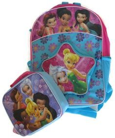 Disney Fairies Kid's School Backpack and Matching Lunch Tote