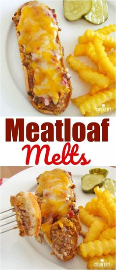 Meatloaf Melts recipe from The Country Cook Meatloaf Melts are an open-faced meatloaf sandwich with melted cheese on top. Made up of flavorful ground beef on a toasted bun! Best Meatloaf, Meatloaf Recipes, Meat Recipes, Cooking Recipes, Meatloaf Sandwich, Hamburger Recipes, Dinner Recipes, Meat Dinner Ideas, Kitchen