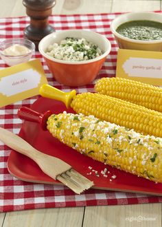 Corn on the Cob Bar - Spice up your next summer party with a savory corn on the cob seasoning bar. With three different spreads—miso-butter, parsley-garlic, and parmesan-lime, the hardest part is picking your favorite!