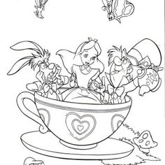 Alice in Wonderland, Fantasyland Mad Tea Party Alice in Wonderland Coloring Page: Fantasyland Mad Tea Party Alice In Wonderland Coloring PageFull Size Image Online Coloring Pages, Cartoon Coloring Pages, Disney Coloring Pages, Coloring Book Pages, Coloring For Kids, Coloring Sheets, Alice Tea Party, Alice In Wonderland Tea Party, Disney Tattoos