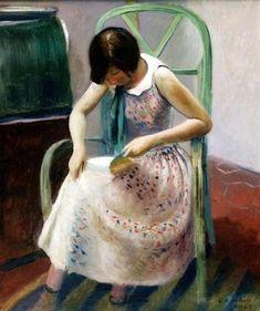 Guy Pene du Bois ~ Girl Reading a Book, 1929 ~ (American: Girl Reading Book, Reading Art, Woman Reading, Love Reading, Reading Books, Kids Reading, I Love Books, Good Books, Hygge Book