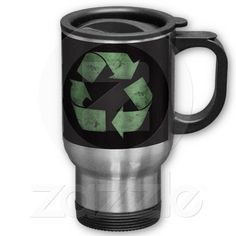Recycle Green Stainless Steel Travel Coffee Mug #recycle #environmental #upcycle