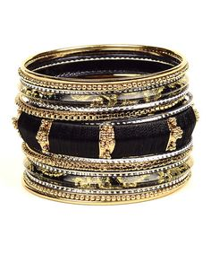 Another great find on #zulily! Black & Goldtone Mina Bangle Set #zulilyfinds