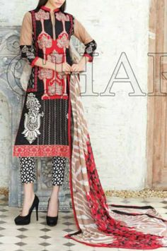 Buy Black/Red Embroidered Swiss Voil Dress by Charizma Eid Collection