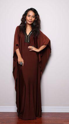 Brown Maxi Dress Kaftan / Kimono Butterfly Maxi Dress by Nuichan. Love the boho feel it brings <3