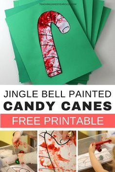 Add some process art to your Christmas activities with this fun jingle bell preschool activity. Includes a free candy cane printable! #christmas #christmascraft #processart #jinglebells #AGE2 #AGE3 #AGE4 #kidsactivity #preschool #preschoolart