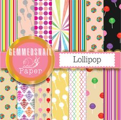 Candy digital paper, birthday lollipop background, lollipop decor craft or candy scrapbook paper x 14