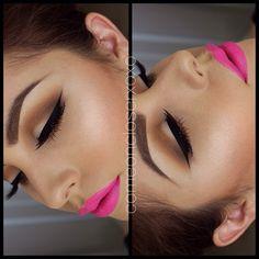neon pink matte lips