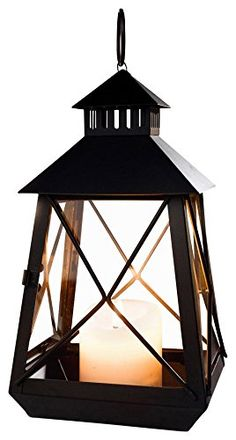 """x2 $29.49 & FREE Shipping on orders over $35.  Large Black Stagecoach Lantern - Metal and Glass Hanging Candle Lantern  - Candle Lanterns & Holders  5"""" W x 5"""" D x 9.8"""" H  BACK PORCH"""
