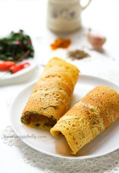 Indian Besan ka Cheela or Chickpea Flour and Swiss Chard Savory Crepes with Mint Ginger Raita @veggiebelly #recipes #vegetarian