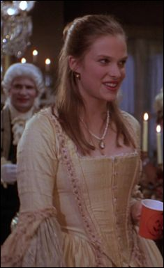 James Acheson's incredible 18th century costumes for the 1988 film Dangerous Liaisons earned him an Academy Award for Best Costume Design.  This peach robe à la française, seen originally on Michelle Pfeiffer as Madame De Tourvel went on to be used again in the 1993 film Hocus Pocus, on Vinessa Shaw as Allison.