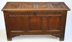 17C Oak 3 Panelled Coffer And 4 Panelled Top. - Antiques Atlas