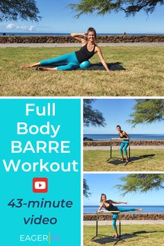 No gym required for this fun and challenging barre workout. You will feel the burn, tone and sculpt your body in just under 45 minutes. All exercises in this. Cardio Barre, Barre Workout, Barre Fitness, Body Fitness, Female Fitness, Weight Set, Weight Loss, Body Weight, Barre Body