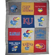 KU Bookstore: Kansas T-Shirt Blanket     This version is awesome but it'd also be lots of fun to make one of these from all of my old Hawk Week, football and other assorted free KU t-shirts.