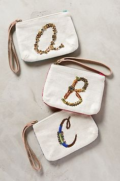 Monogramed zipper pouches - Cute gift idea! #anthrofave http://rstyle.me/n/r827in2bn