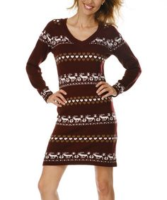Take a look at this Maroon & White Reindeer V-Neck Sweater Dress by White Mark on #zulily today!