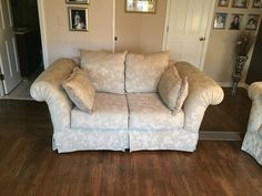 Traditional Taupe Brocade Couch and Loveseat - A Pair Small Couch, Couch And Loveseat, Sofa Shop, Love Seat, Taupe, Traditional, Furniture, Design, Home Decor