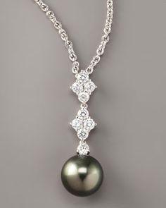 PEARL MIKIMOTO Black Pearl Pendant Necklace