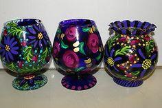 Whimsical Signed Hand painted Art Glass Votive Candle Holder Vase Roses DGF4E Glass Votive Candle Holders, Hand Painting Art, Glass Art, Whimsical, Roses, Hand Painted, Candles, Inspired, Wood