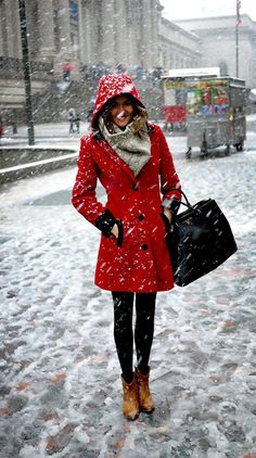 red trench + black tights