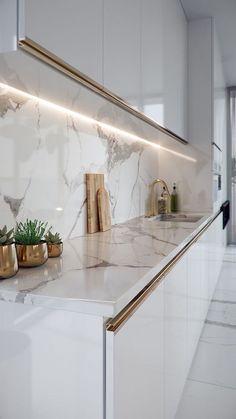 Small Home Remodel Modern Kitchen Timeless Calacatta Grey Luxury Kitchen Design, Kitchen Room Design, Kitchen Cabinet Design, Luxury Kitchens, Home Decor Kitchen, Interior Design Kitchen, Home Kitchens, Gold Kitchen, Kitchen Cabinets
