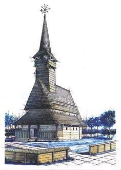 Traditional Romanian Wooden Church. These are really big over at the Bucharest Village Museum. Might prove quite challenging to draw - pay close attention to the detailing. Pencil + Colored Crayons + Watercolors on 50x70 Standard Paper, 15 Hours Completion Time #architecture #architect #rendering