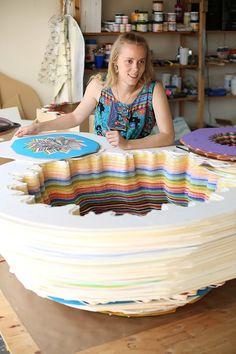 Jen Stark and her unique paper art. Jen Stark, Paper Quilling For Beginners, 4th Grade Art, Art Lessons Elementary, Art Classroom, Op Art, Art Education, Contemporary Artists, Paper Art