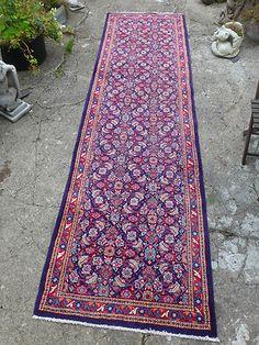 Vintage Persian Wool Rug Runner Blue and Red | eBay