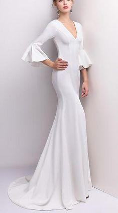 d59c24eda90 Satin Crepe Minimalist Wedding Gown with Deep V Neckline   Bell Sleeves