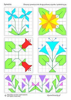 Symetria, figury symetryczne, zadania dla dzieci | symmetry, symmetrical figures, worksheets for kids