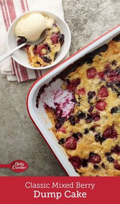 Bursting with fresh blueberries and raspberries and brightened with lemon juice, this traditional dump cake will become a summer staple. Dump Cake Recipes, Fruit Recipes, Dessert Recipes, Poke Cakes, Bundt Cakes, Cupcake Cakes, Summer Desserts, Sweet Desserts, Recipes