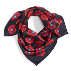 Women's Tory Burch Poppy Silk Square Scarf (7.395 RUB) ❤ liked on Polyvore featuring accessories, scarves, tory navy floral, floral shawl, navy blue scarves, tory burch, square silk scarves and silk scarves