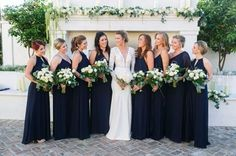 A clean looking Mix-and-Match Navy. Amsale Bridesmaid, Bridesmaid Dresses, Wedding Dresses, Blue Wedding, Wedding Colors, Mix Match Bridesmaids, Mix N Match, Wedding Inspiration, Gowns