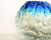 Ombre Blown Glass Vase - Gradient Transparent Blue Handblown Glass Sphere - SALE teamcamelot Part or a TAGT team Etsy treasury, click to see more.