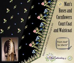 Man's Roses and Cornflowers Court Coat and Waistcoat